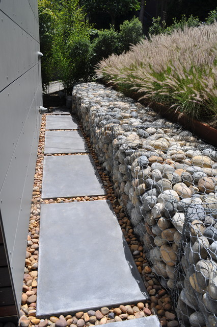 gabion rock retaining wall modern landscape san francisco by