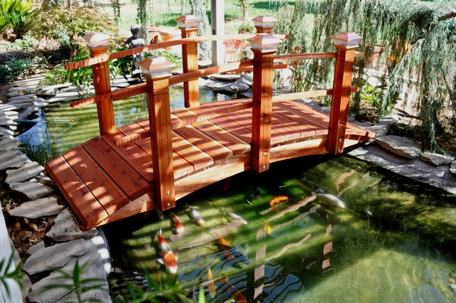 Garden bridge asian landscape san diego by redwood for Fish pond bridges