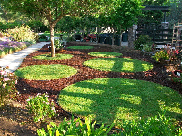contemporary landscape garden circles - Garden Design Circular Lawns