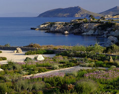 Garden design in Greece on the island of Paros mediterranean landscape