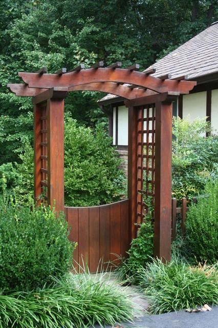 Garden gate with pergola contemporary landscape for Garden gate arbors designs