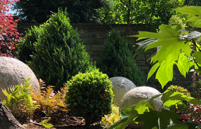 Design ideas for an eclectic backyard landscaping in Charlotte.