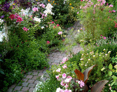 Garden Path Bursting with Blooms traditional-landscape