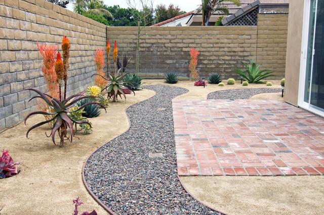 Garden pathway in drought tolerant yard Southwestern
