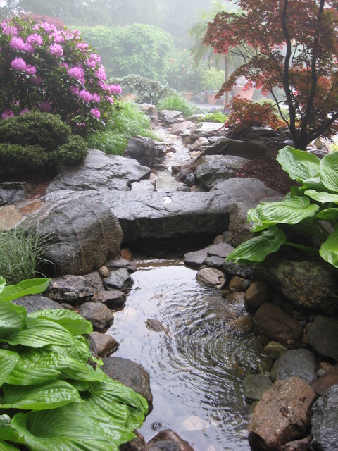 Backyard Ponds And Streams : Garden Pond and stream with stone bridge  Traditional  Landscape
