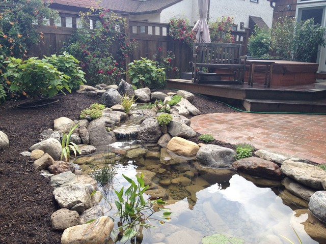 Garden ponds fish ponds koi ponds monroe county for Landscaping around a small pond