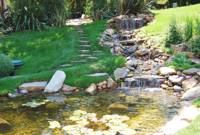 Garden waterfalls and fish pond water features los angeles for Outdoor tropical fish pond