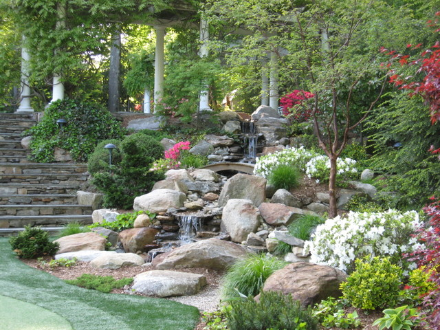 This Is An Example Of A Large Traditional Partial Sun Backyard Stone Water  Fountain Landscape In. Save Photo. Waterfalls Fountains U0026 Gardens