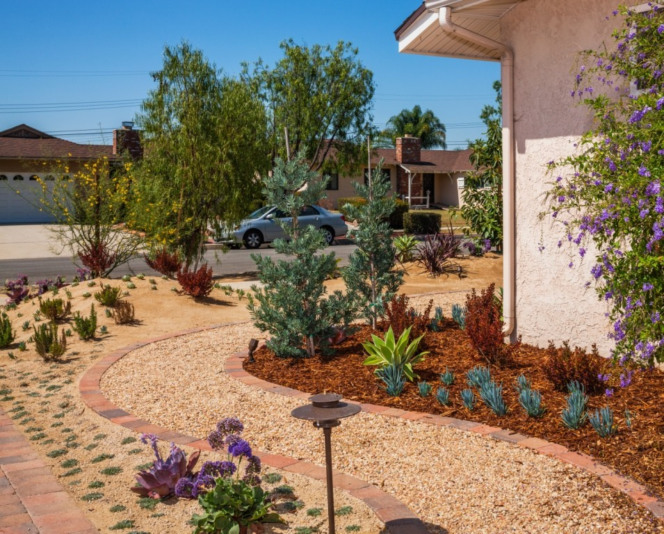 This is an example of a mid-sized southwestern drought-tolerant, full sun and desert side yard gravel landscaping in Orange County.