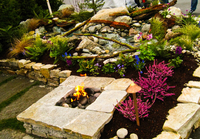 Gas fire pit next to waterfall - Asian - Landscape - seattle - by Choice Landscapes LLC