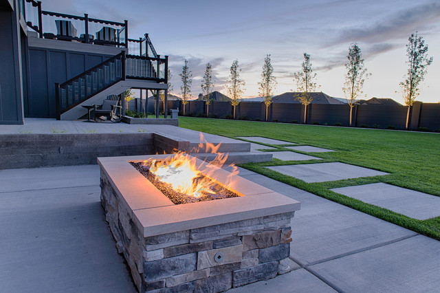 Gas Fire Pits Contemporary Landscape Salt Lake City
