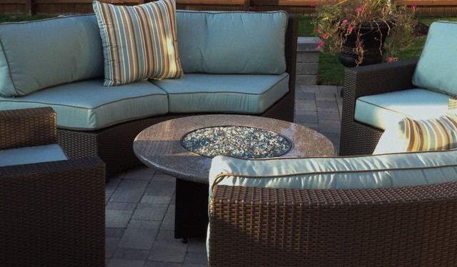 Gas Fire Pits With Curved Sectional Contemporary