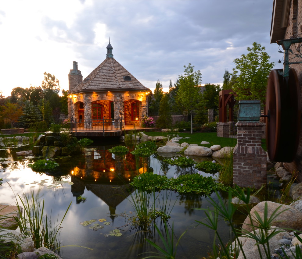 This is an example of a traditional backyard water fountain landscape in Salt Lake City.