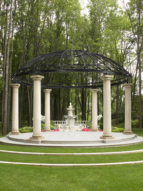 Gazebo with Water Fountain Structure modern-landscape