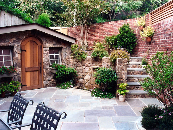 Georgetown Grotto With Fieldstone Stairs Flagstone Patio And Container Garden