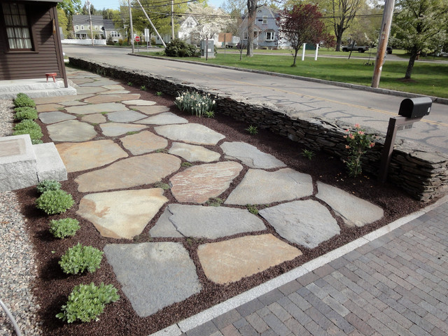 Goshen stone entrance farmhouse landscape boston for Landscaping stones