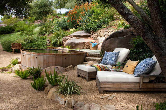 Staycation style resort style backyard retreats - Using stone in rustic gardens elegance and drama ...