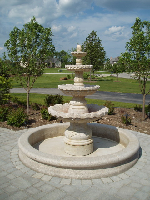 Granite Tiered Fountain Mediterranean Landscape