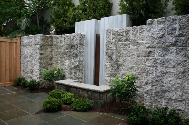 Granite Water Wall And Fieldstone Pool Topped With Limestone Cap Modern Landscape DC Metro