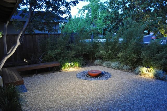gravel courtyard asian-landscape