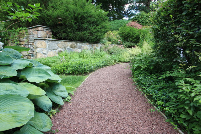 Gravel path traditional landscape new york by conte amp conte llc