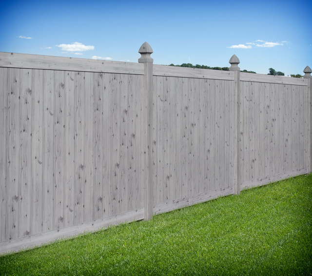 Gray Wood Grain Pvc Vinyl Privacy Fence By Illusions Vinyl