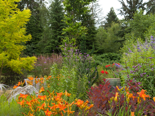 This Is An Example Of A Traditional Backyard Landscaping In Seattle For  Fall.