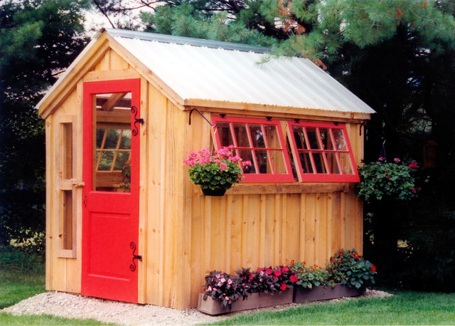 greenhouse post and beam shed kits shabby chic style landscape