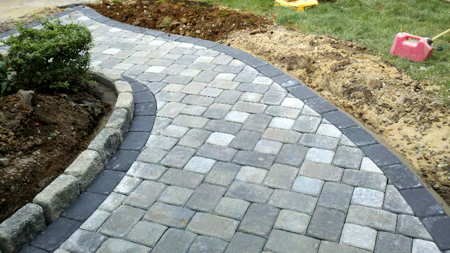 Grey Concrete Paver Brick Walkway With Single Border