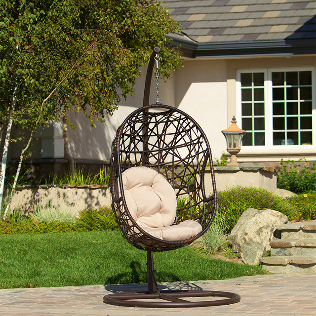Guerneville Swinging Egg Shell Chair Modern Landscape