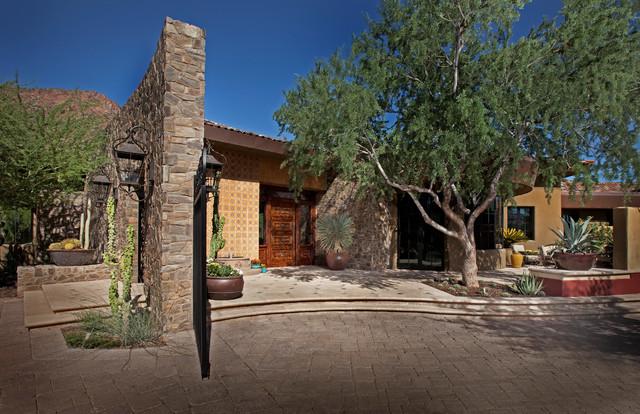 Hacienda Modern - Entry Porch - Southwestern - Landscape - phoenix - by Bianchi Design