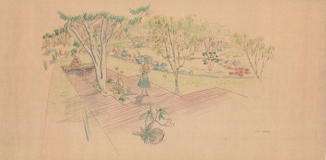 Halprin Sketch of Mary Jean & Joel E.Ferris, II in Proposed Landscape 1955 modern landscape