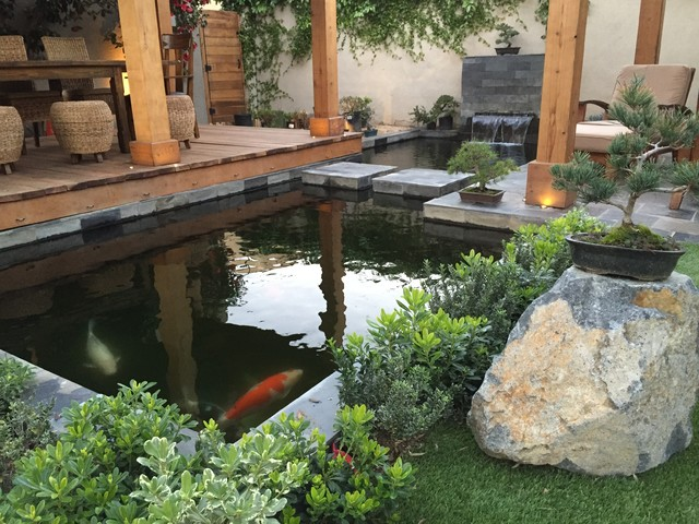 Halsted house backyard koi pond modern landscape los for Modern garden pond designs