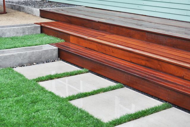 Hardwood Deck Poured Concrete Walls Architectural Paver Path Modern Landscape Portland