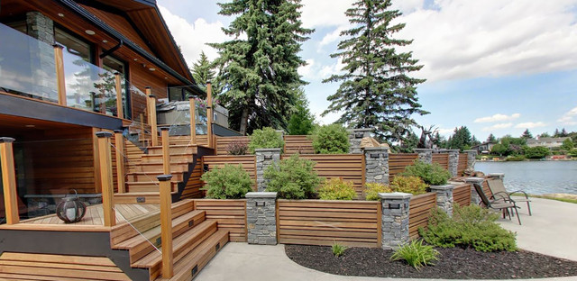 Hardwood Tiered Garden Retaining Wall Transitional Garden