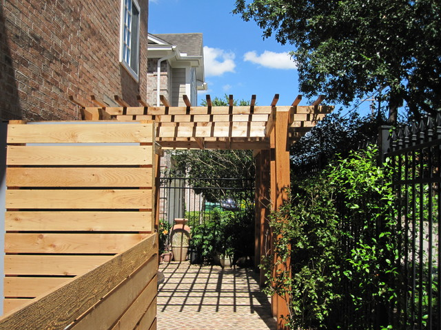 High function in a small side yard! Pergola, raised bed, mirrored wall ...