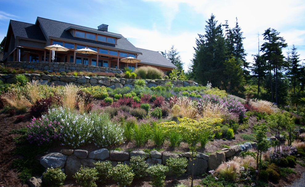 Design ideas for a contemporary hillside landscaping in Seattle.