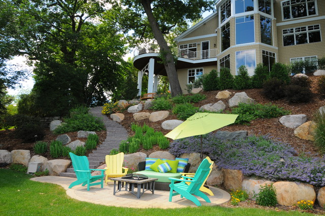 Hillside Makeover Contemporary Landscape Minneapolis