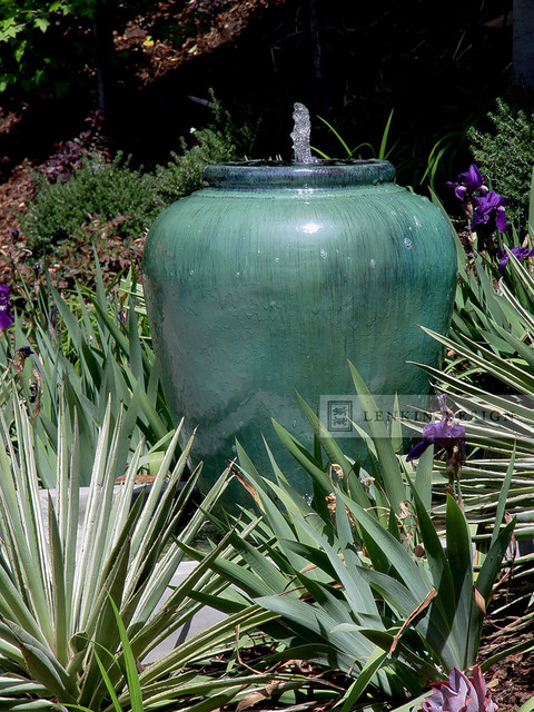 Hillside Urn Fountain contemporary-landscape