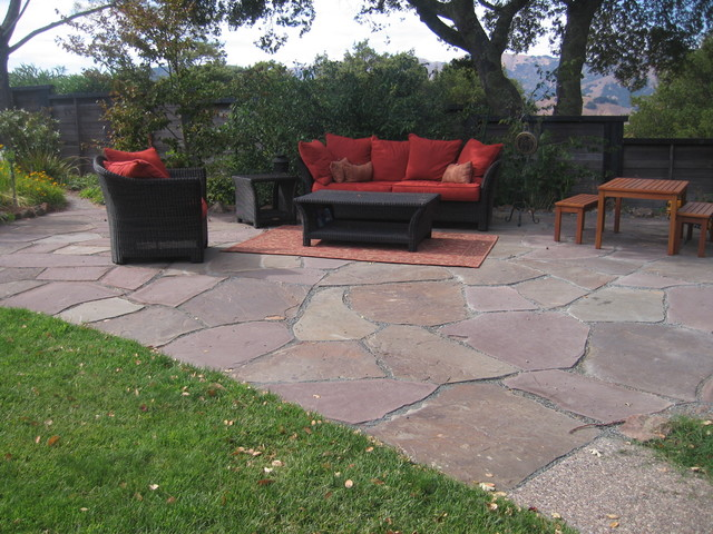 Paths, patios, fire pits eclectic landscape
