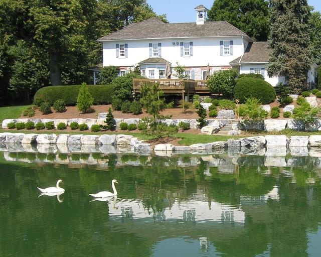 Landscaping Pond Banks : Historic farmhouse bank and pond landscape