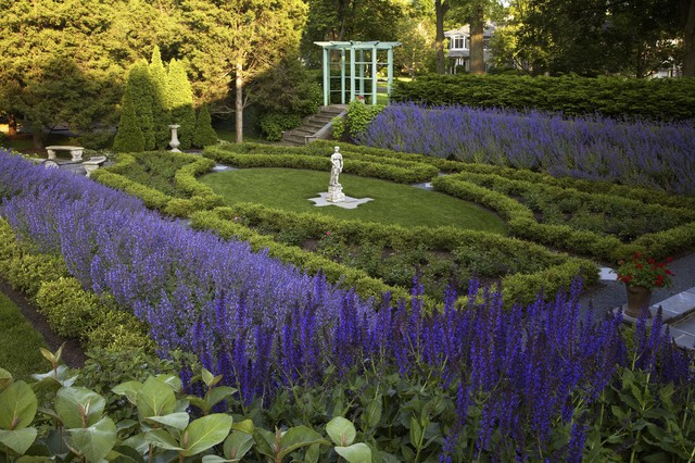 Historic formal garden wilmette illinois traditional for Formal landscape design