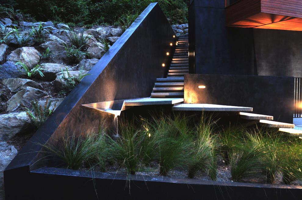 Photo of a modern water fountain landscape in Portland.