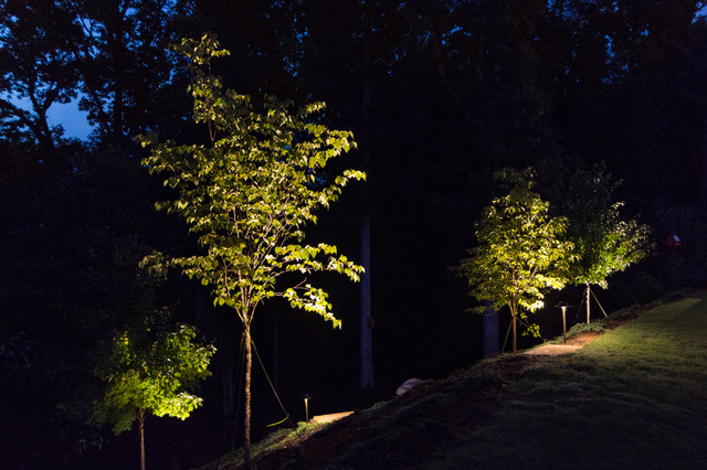 Holly Springs GA House And Yard Lighting Project Rustic Landscape Atla