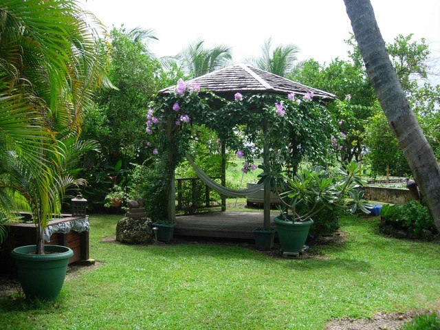 Gazebo in bloom tropical-landscape