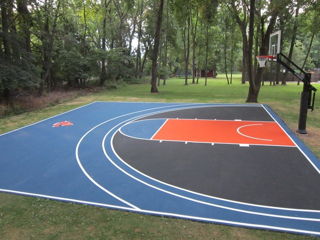 Home basketball court eclectic landscape new york for Basketball court at home