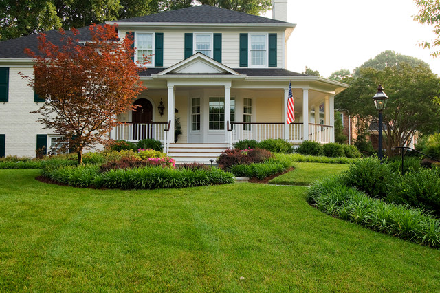 Home on a corner lot transitional landscape dc metro for Corner lot landscaping pictures
