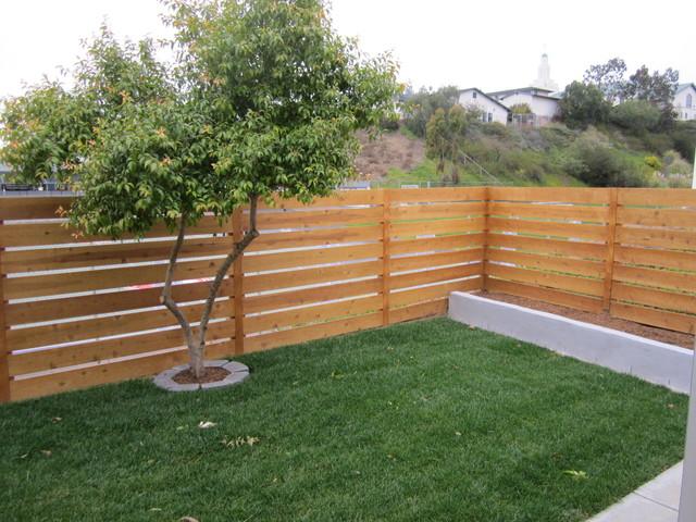 Horizontal Cedar Fence Contemporary Landscape San