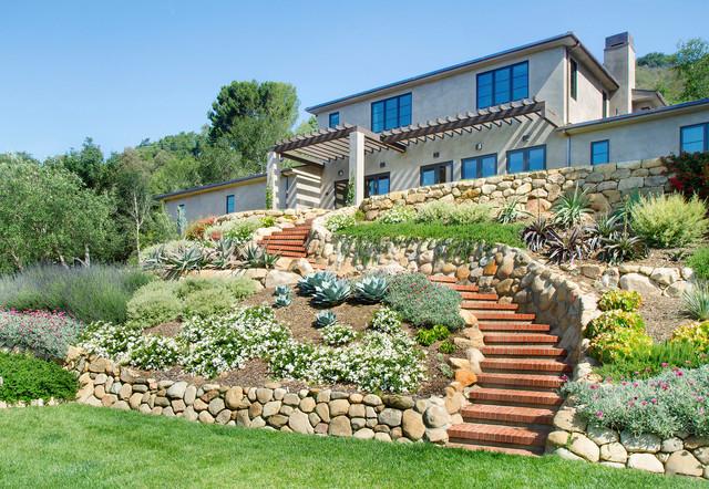 House On The Hill - Mediterranean - Landscape - Santa Barbara - By Calvin Design
