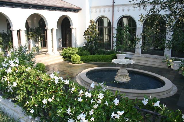 Mediterranean Style Courtyard Garden With: Houston Courtyard